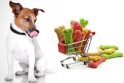собачка и корзина с магазинными лакомствами